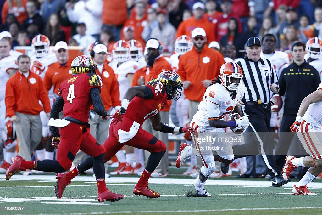 Sammy Watkins #2 of the Clemson Tigers runs downfield after a reception against the Maryland Terrapins during the first half of the game at Byrd Stadium on October 26, 2013 in College Park, Maryland.