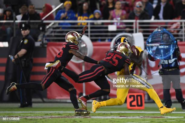 Sammy Watkins of the Los Angeles Rams makes a catch against the San Francisco 49ers during their NFL game at Levi's Stadium on September 21 2017 in...