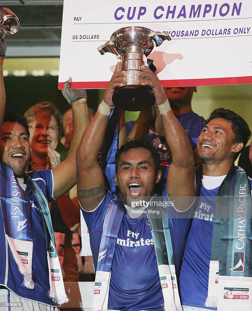 Samoa captain Uale Mai holds aloft the Hong Kong Cup after they beat Fiji in the final of the Cathay Pacific/Credit Suisse Hong Kong Rugby Sevens on...