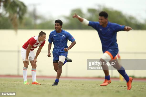 Samoa celebrate victory during the boy's rugby 7's gold medal final match between England and Samoa on day 4 of the 2017 Youth Commonwealth Games at...