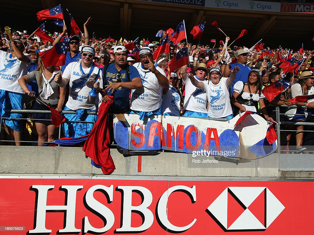 Samoa fans during the Hertz Sevens, Round four of the HSBC Sevens World Series Westpac Stadium on February 2, 2013 in Wellington, New Zealand.