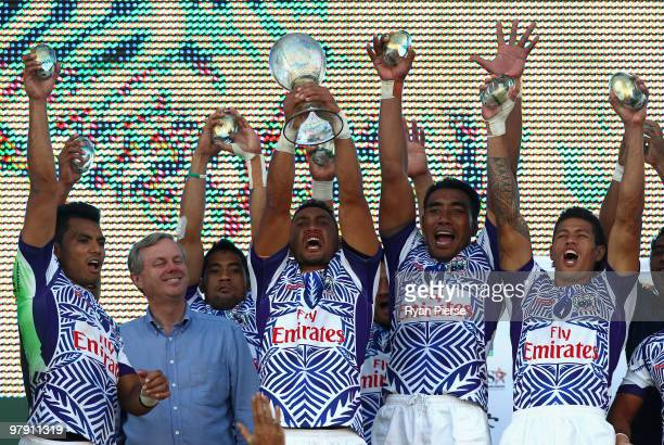 Samoa lift the cup after winning the Cup Final match between Samoa and USA during day three of the IRB Adelaide International Rugby Sevens at...
