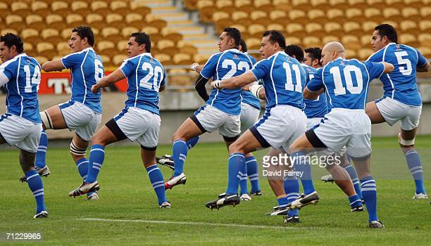 Samoa perform the prematch ritual prior to the Pacific 5 Nations match between Samoa and Japan at Yarrows Stadium on June 17 2006 in New Plymouth New...