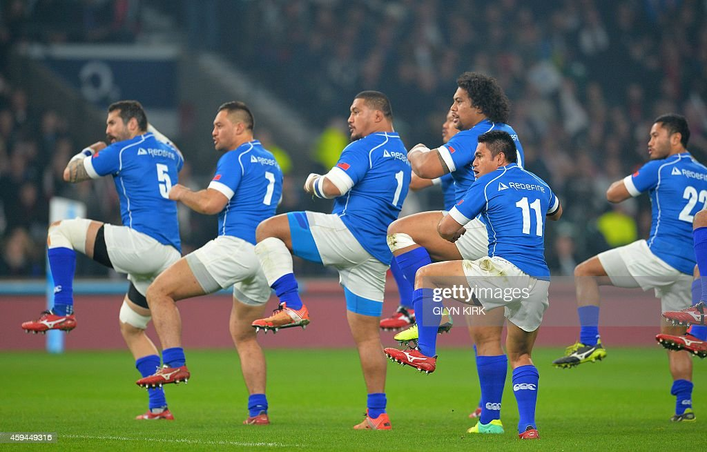 Samoa perform the Siva Tau before the Autumn International rugby union Test match between England and Samoa at Twickenham Stadium southwest of London...