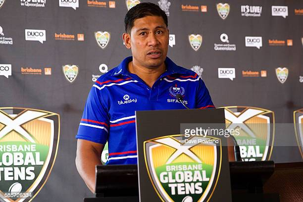 Samoa Rugby Coach Alama Ieremia speaks to the media during the Rugby 10's Launch at Spencer on Byron Hotel on August 4 2016 in Auckland New Zealand...