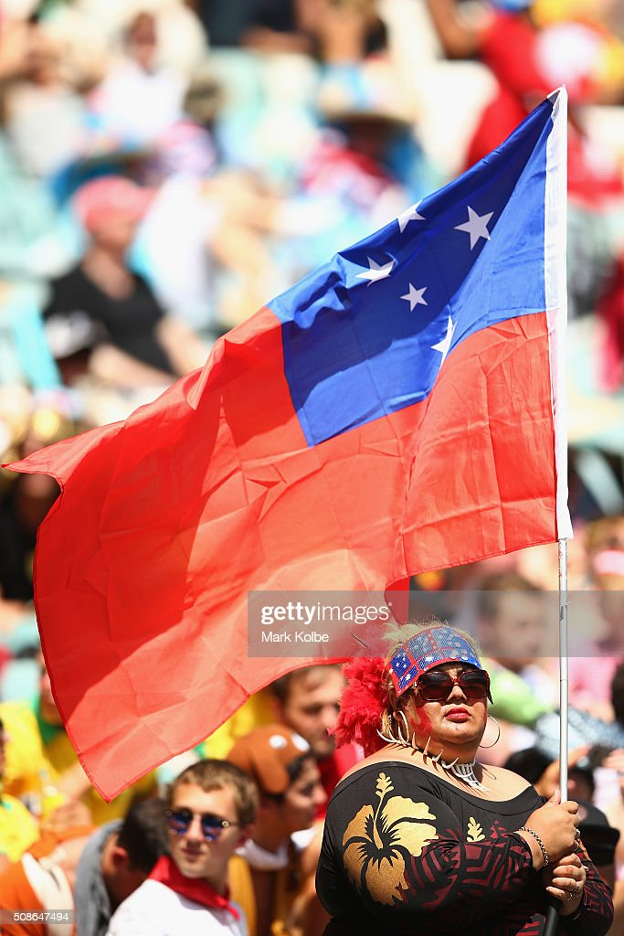 A Samoa supporter in the crowd holds a flag during the 2016 Sydney Sevens match between Samoa and Argentina at Allianz Stadium on February 6, 2016 in Sydney, Australia.