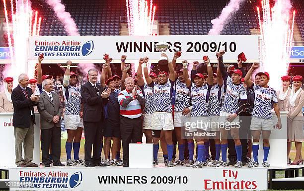 Samoa with the IRB Edinburgh Seven's trophy presented at the the IRB Edinburgh Sevens Festival at Murrayfield Stadium on May 30 2010 in Edinburgh...