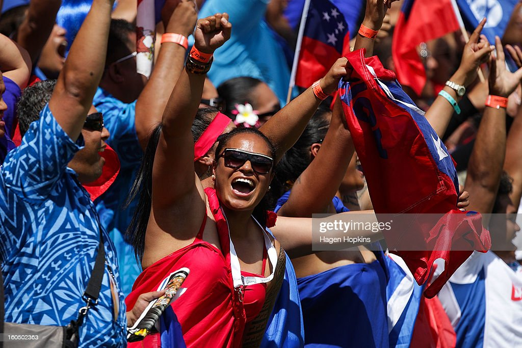 A Samoan fan celebrates in the quarterfinal cup match between Samoa and Argentina during the 2013 Wellington Sevens at Westpac Stadium on February 2, 2013 in Wellington, New Zealand.