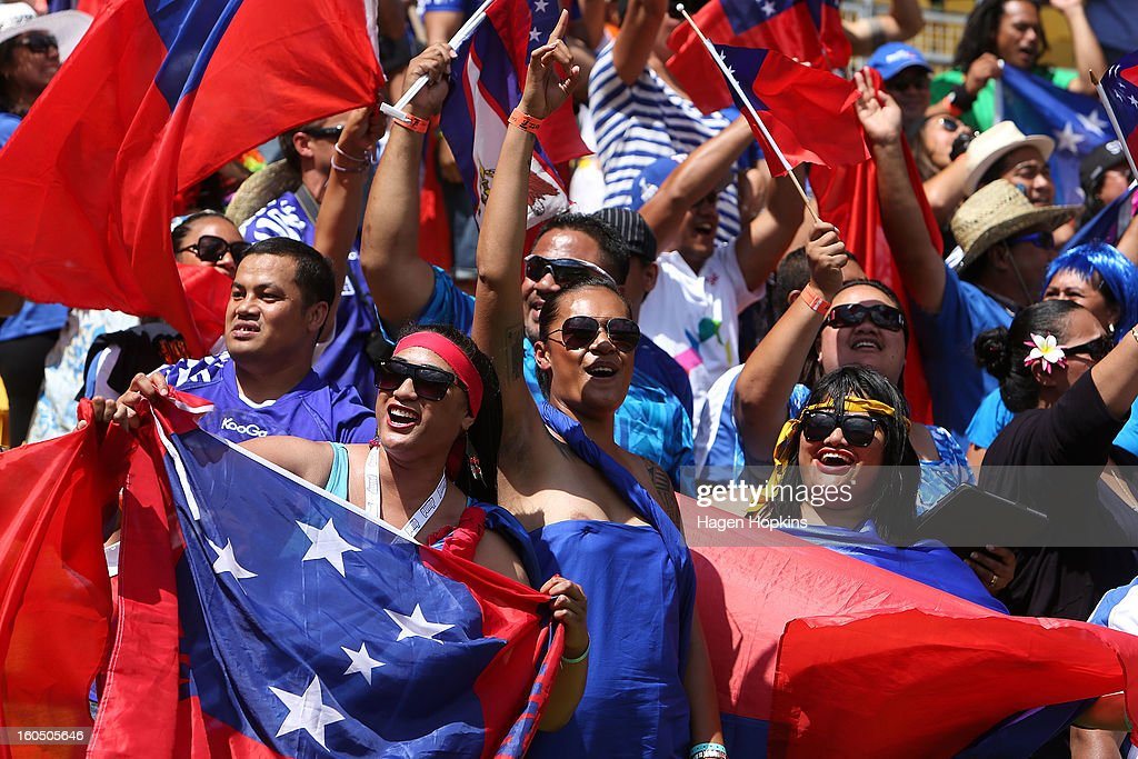 Samoan fans celebrate in the quarterfinal cup match between Samoa and Argentina during the 2013 Wellington Sevens at Westpac Stadium on February 2, 2013 in Wellington, New Zealand.