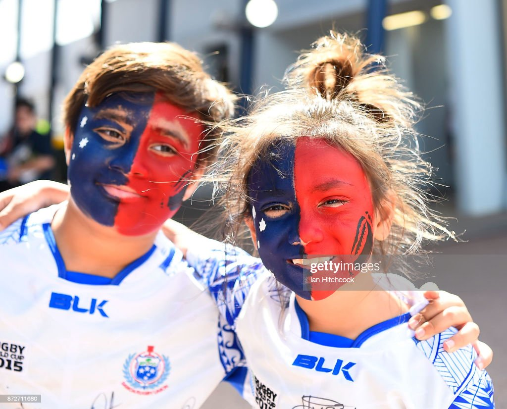 Samoan fans show their support before the start of the 2017 Rugby League World Cup match between Samoa and Scotland at Barlow Park on November 11, 2017 in Cairns, Australia.