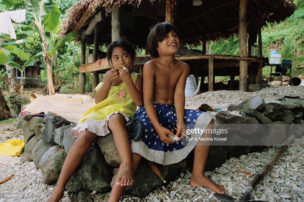 Samoan Girls Eating Limes