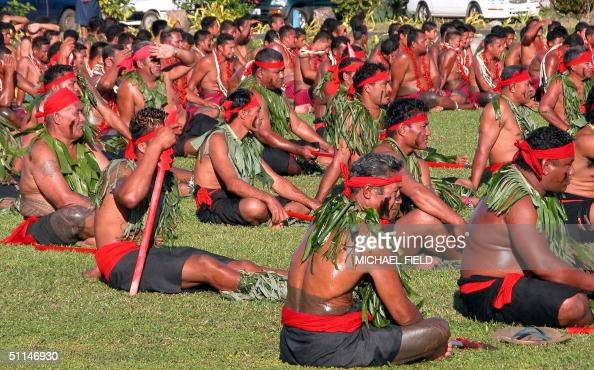 Samoan matai or chiefs attend the opening ceremony of the 35th Pacific Forum summit in Samoa 06 August 2004 Leaders of 14 Pacific Island nations...