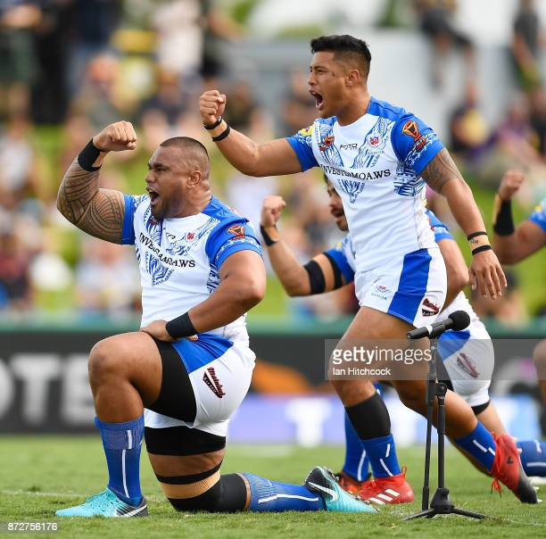 Samoan players do the 'Siva Tau' Cultural Challenge before the start the 2017 Rugby League World Cup match between Samoa and Scotland at Barlow Park...
