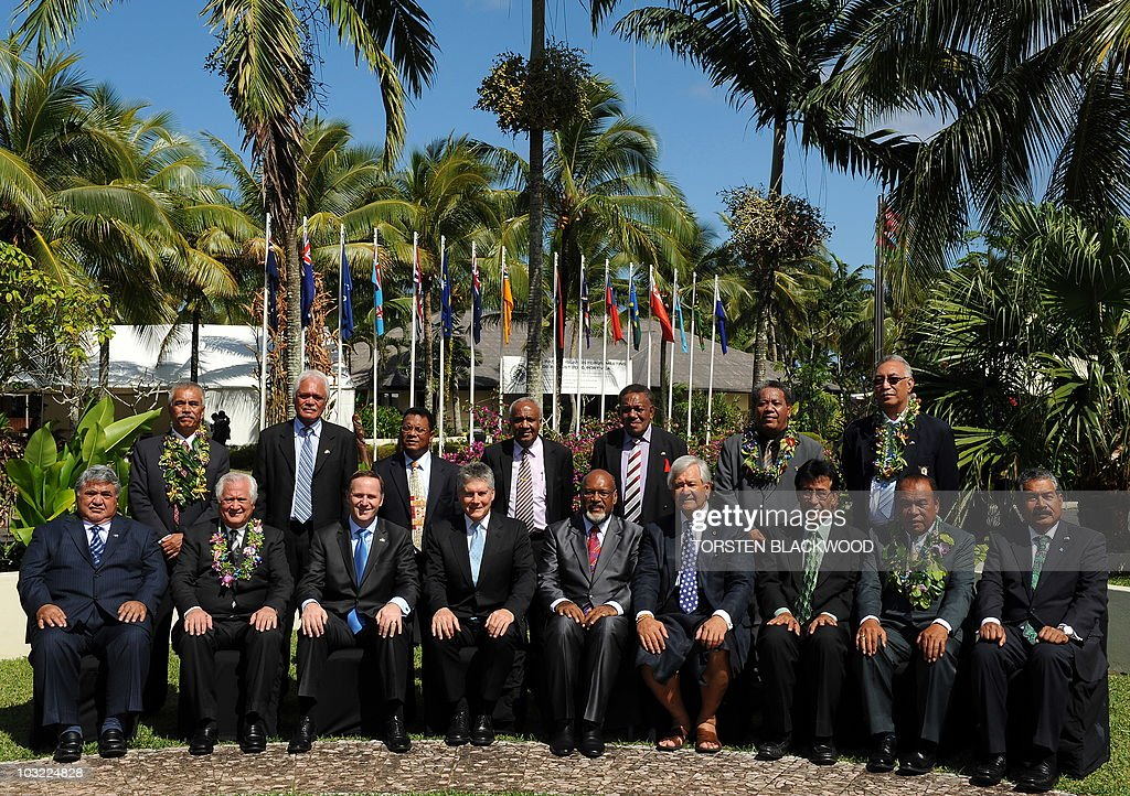 Samoan Prime Minister Tuilaepa Sailele Malielegaoi, Tongan Prime Minister Feleti Vaka'uta Sevele, New Zealand Prime Minister John Key, Australian Foreign Minister Stephen Smith, Vanuatu Prime Minister <a gi-track='captionPersonalityLinkClicked' href=/galleries/search?phrase=Edward+Natapei&family=editorial&specificpeople=3057010 ng-click='$event.stopPropagation()'>Edward Natapei</a>, Secretary General of the Pacific Islands Forum Secretariat Tuiloma Neroni Slade of Samoa, President of the Federated States of Micronesia Emanuel Mori, President of the Marshall Islands Jurelang Zedkaia, President of Palau Johnson Toribiong, (second row, standing L to R) President of Kiribati Anote Tong, Prime Minister of the Cook Islands Jim Marurai, President of Nauru Marcus Stephen, Vanuatu Foreign Minister Sato Killman, Solomon Islands special envoy Paul Tovua, Tuvalu Foreign Minister Lutelu Faavae, and Niue Premier Toke Tufukia Talagi pose for the official photo of the 41st Pacific Islands Forum in Port Vila on August 4, 2010. The leaders from 15 member states are meeting in Vanuatu to discuss the military dictatorship in Fiji, climate change and security issues. (Eds note: Papua New Guinea's Planning Minister Paul Tiersten did not partake in the group photo) AFP PHOTO / Torsten BLACKWOOD