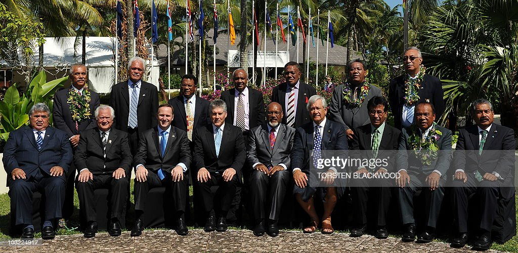 Samoan Prime Minister Tuilaepa Sailele Malielegaoi, Tongan Prime Minister Feleti Vaka'uta Sevele, New Zealand Prime Minister John Key, Australian Foreign Minister Stephen Smith, Vanuatu Prime Minister Edward Natapei, Secretary General of the Pacific Islands Forum Secretariat Tuiloma Neroni Slade of Samoa, President of the Federated States of Micronesia Emanuel Mori, President of the Marshall Islands Jurelang Zedkaia, President of Palau Johnson Toribiong, (second row, standing L to R) President of Kiribati Anote Tong, Prime Minister of the Cook Islands Jim Marurai, President of Nauru Marcus Stephen, Vanuatu Foreign Minister Sato Killman, Solomon Islands special envoy Paul Tovua, Tuvalu Foreign Minister Lutelu Faavae, and Niue Premier Toke Tufukia Talagi pose for the official photo of the 41st Pacific Islands Forum in Port Vila on August 4, 2010. The leaders from 15 member states are meeting in Vanuatu to discuss the military dictatorship in Fiji, climate change and security issues. (Eds note: Papua New Guinea's Planning Minister Paul Tiersten did not partake in the group photo.) AFP PHOTO / Torsten BLACKWOOD
