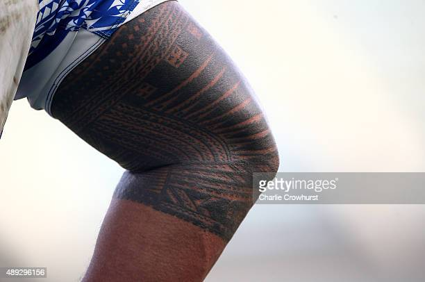 Samoa's Alesana Tuilagi tattoo on show during the 2015 Rugby World Cup Pool B match between Samoa and USA at Brighton Community Stadium on September...