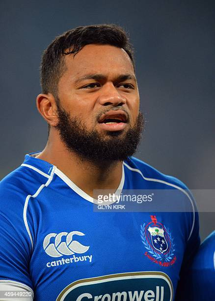 Samoa's FaAtiga Lemalu lines up with his teammates for the national anthems before kick off in the Autumn International match against England at...