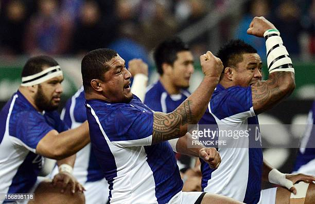 Samoa's players perform the haka during the rugby union Test match France vs Samoa at the Stade de France on November 24 2012 in SaintDenis north of...