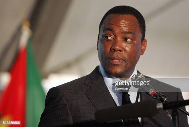 Samora Machels son Samito speaks during the 30th commemoration of his fathers death on October 17 2016 in Mpumalanga South Africa Speaking at the...