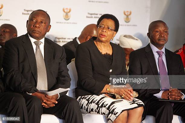 Samora Machels widow Graca and Deputy President Cyril Ramaphosa during the 30th commemoration of Samora Machels death on October 17 2016 in...
