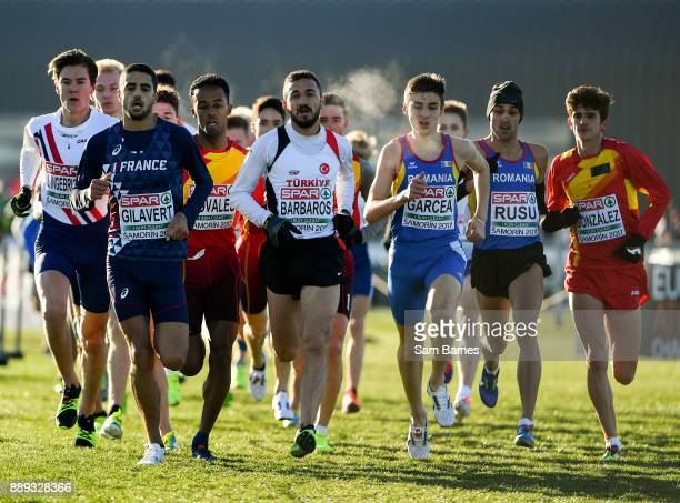 Samorin Slovakia 10 December 2017 The leading pack competing in the U20 Men's event during the European Cross Country Championships 2017 at Samorin...