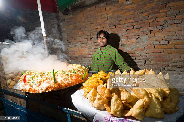 Samosas sold on the street by a vendor