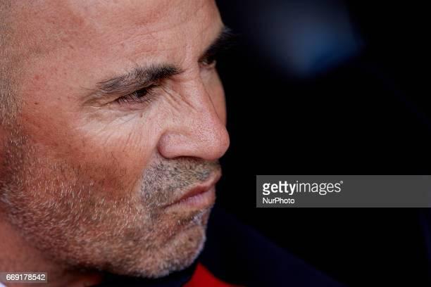 Sampaoli head coach of Sevilla FC looks on prior to the La Liga match between Valencia CF and Sevilla FC at Mestalla stadium on April 16 2017 in...