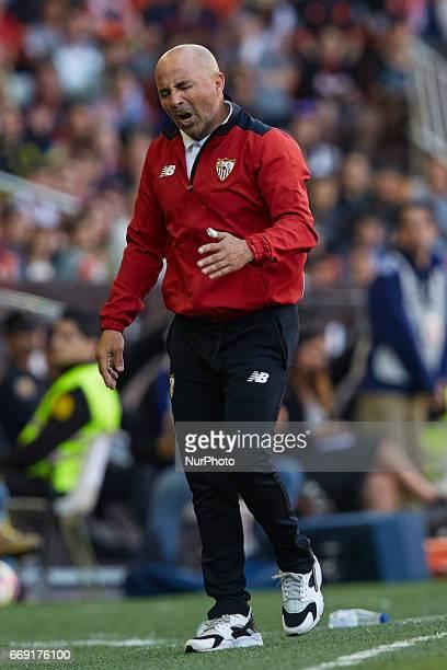 Sampaoli head coach of Sevilla FC reacts during the La Liga match between Valencia CF and Sevilla FC at Mestalla stadium on April 16 2017 in Valencia...