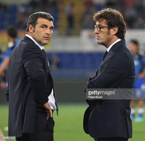 UC Sampdoria assistant coach Angelo Peruzzi and his head coach Ciro Ferrara react during the Serie A match between AS Roma and UC Sampdoria at Stadio...