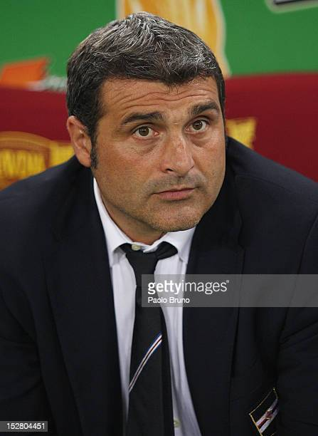 Sampdoria assistant coach Angelo Peruzzi looks on during the Serie A match between AS Roma and UC Sampdoria at Stadio Olimpico on September 26 2012...