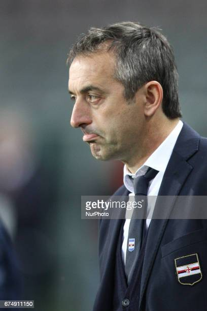 Sampdoria coach Marco Giampaolo during the Serie A football match n34 TORINO SAMPDORIA on at the Stadio Olimpico Grande Torino in Turin Italy