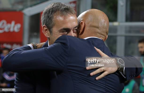 Sampdoria coach Marco Giampaolo embraces FC Internazionale Milano coach Luciano Spalletti prior to the Serie A match between FC Internazionale and UC...
