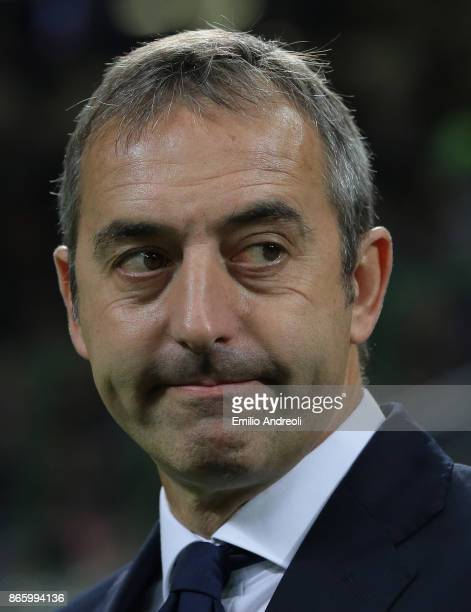 Sampdoria coach Marco Giampaolo looks on before the Serie A match between FC Internazionale and UC Sampdoria at Stadio Giuseppe Meazza on October 24...