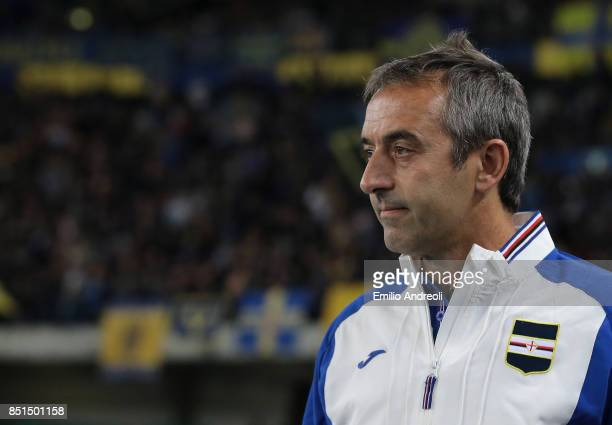 Sampdoria coach Marco Giampaolo looks on before the Serie A match between Hellas Verona FC and UC Sampdoria at Stadio Marc'Antonio Bentegodi on...