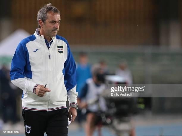 Sampdoria coach Marco Giampaolo looks on during the Serie A match between Hellas Verona FC and UC Sampdoria at Stadio Marc'Antonio Bentegodi on...