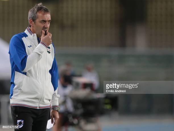 Sampdoria coach Marco Giampaolo reacts during the Serie A match between Hellas Verona FC and UC Sampdoria at Stadio Marc'Antonio Bentegodi on...