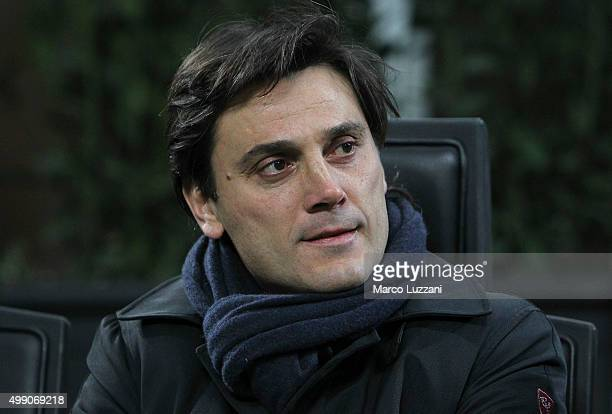 Sampdoria coach Vincenzo Montella looks on before the Serie A match between AC Milan and UC Sampdoria at Stadio Giuseppe Meazza on November 28 2015...