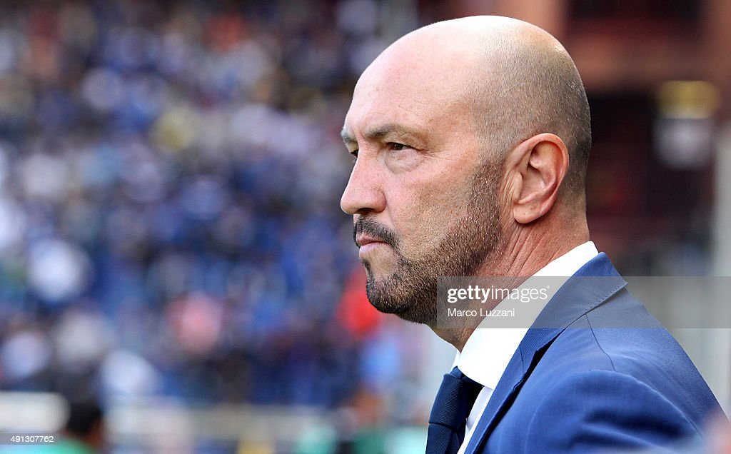 UC Sampdoria coach <a gi-track='captionPersonalityLinkClicked' href=/galleries/search?phrase=Walter+Zenga&family=editorial&specificpeople=891748 ng-click='$event.stopPropagation()'>Walter Zenga</a> looks on before the Serie A match between UC Sampdoria and FC Internazionale Milano at Stadio Luigi Ferraris on October 4, 2015 in Genoa, Italy.