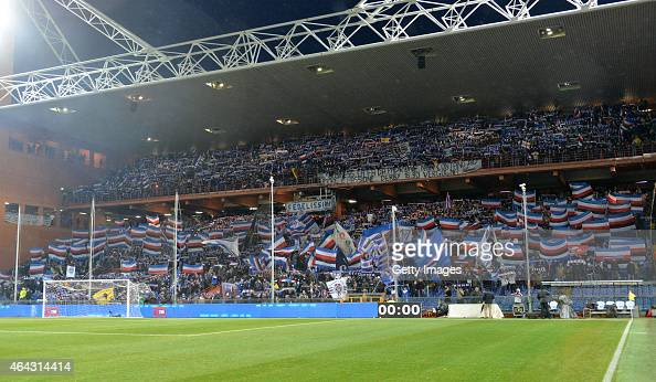 Sampdoria fans are seen ahead of the Serie A match between UC Sampdoria and Genoa CFC at Stadio Luigi Ferraris on February 24 2015 in Genoa Italy