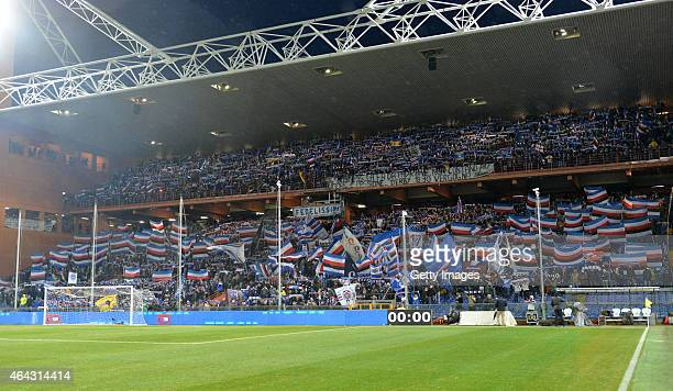 Sampdoria fans are seen ahead of the Serie A match between UC Sampdoria and Genoa CFC at Stadio Luigi Ferraris on February 24 2015 in Genoa Italy