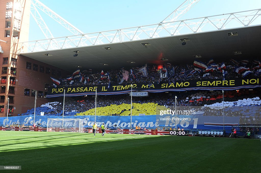 UC Sampdoria fans shopw their support prior to the Serie A match between Genoa CFC and UC Sampdoria at Stadio Luigi Ferraris on April 14, 2013 in Genova, Italy.