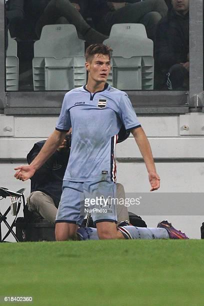Sampdoria forward Patrik Schick celebrates after scoring his goal during the Serie A football match n10 JUVENTUS SAMPDORIA on at the Juventus Stadium...