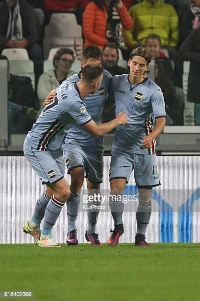 Sampdoria forward Patrik Schick celebrates with his teammates after scoring his goal during the Serie A football match n10 JUVENTUS SAMPDORIA on at...