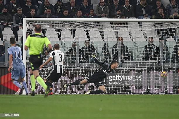 Sampdoria forward Patrik Schick scores his goal during the Serie A football match n10 JUVENTUS SAMPDORIA on at the Juventus Stadium in Turin Italy...
