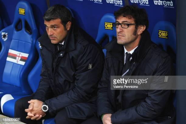 Sampdoria head coach Ciro Ferrara and Angelo Peruzzi sit on the bench prior to the Serie A match between UC Sampdoria and Atalanta BC at Stadio Luigi...