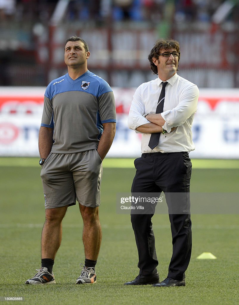 UC Sampdoria head coach <a gi-track='captionPersonalityLinkClicked' href=/galleries/search?phrase=Ciro+Ferrara&family=editorial&specificpeople=548048 ng-click='$event.stopPropagation()'>Ciro Ferrara</a> (R) and assistant coach <a gi-track='captionPersonalityLinkClicked' href=/galleries/search?phrase=Angelo+Peruzzi&family=editorial&specificpeople=465777 ng-click='$event.stopPropagation()'>Angelo Peruzzi</a> during the Serie A match between AC Milan and UC Sampdoria at San Siro Stadium on August 26, 2012 in Milan, Italy.