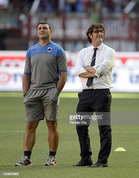 Sampdoria head coach Ciro Ferrara and assistant coach Angelo Peruzzi during the Serie A match between AC Milan and UC Sampdoria at San Siro Stadium...