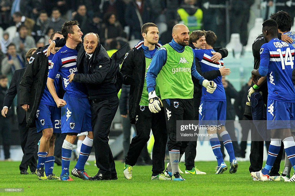 UC Sampdoria head coach Delio Rossi (2nd L) celebrates victory at the end of the Serie A match between Juventus FC and UC Sampdoria at Juventus Arena on January 6, 2013 in Turin, Italy.