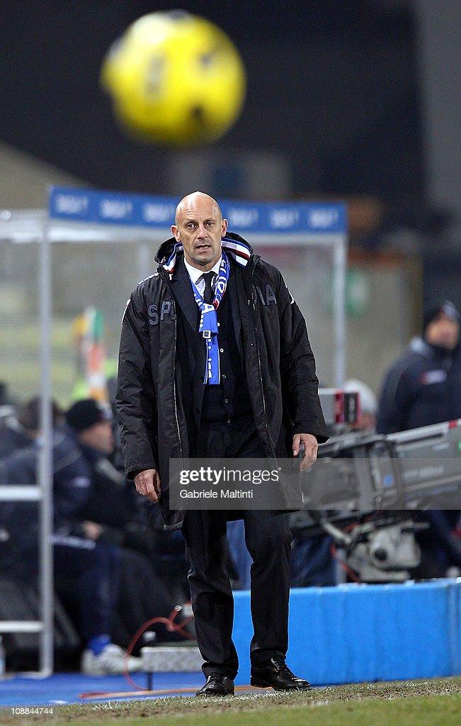 Sampdoria head coach Domenico Di Carlo looks during the Serie A match between Udinese Calcio and UC Sampdoria at Stadio Friuli on February 5, 2011 in Udine, Italy.