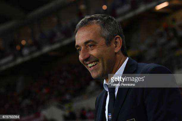 Sampdoria head coach Marco Giampaolo looks on during the Serie A match between FC Torino and UC Sampdoria at Stadio Olimpico di Torino on April 29...